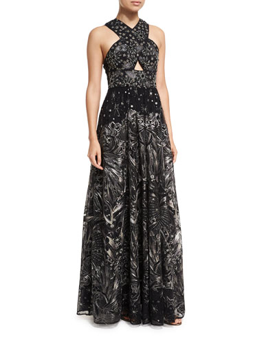 Crisscross High-neck Sleeveless Embroidered Tulle Gown