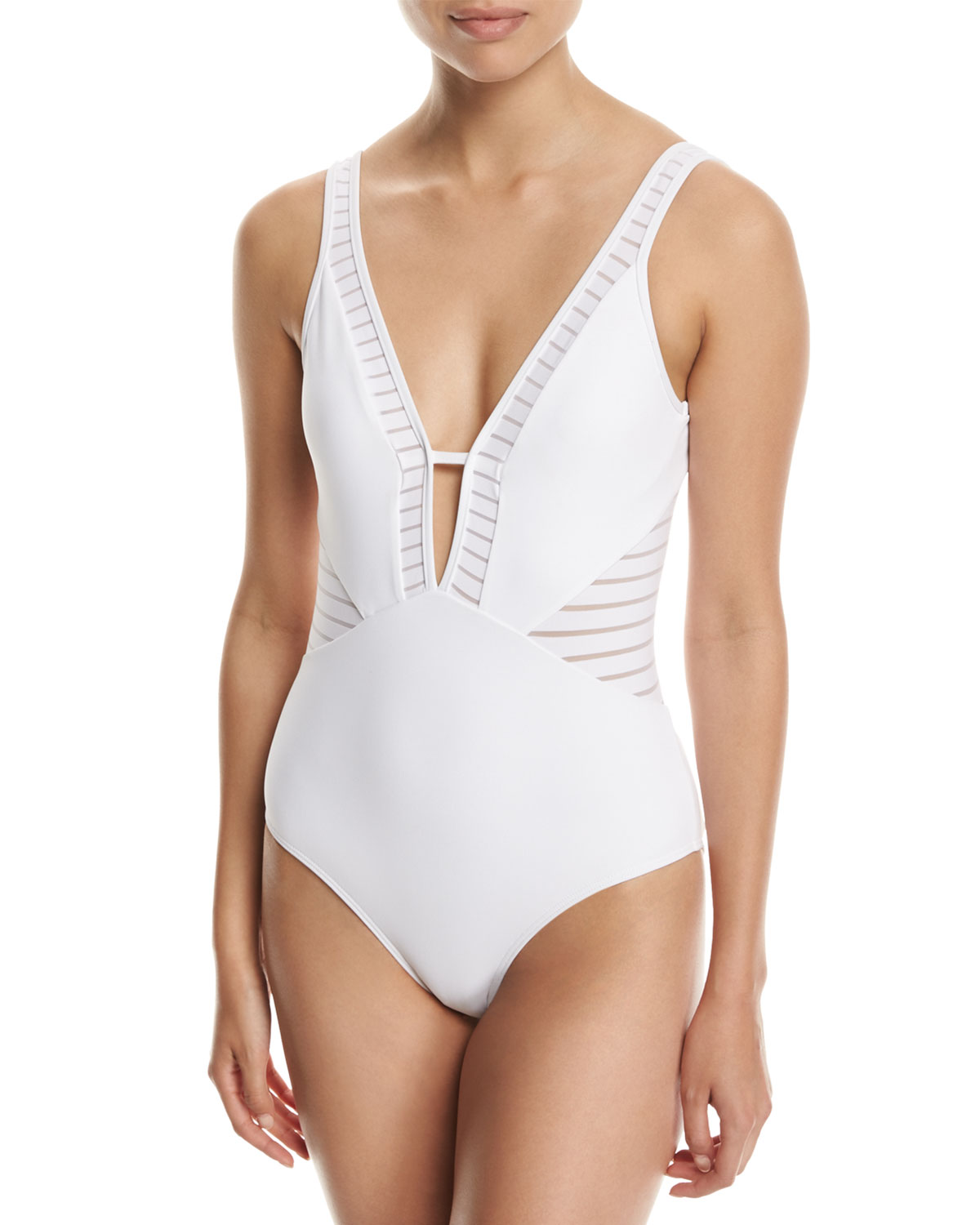 Parallels Plunge V-Neck One-Piece Swimsuit White