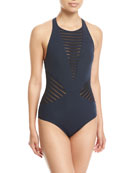 Parallels High-Neck One-Piece Swimsuit, Blue
