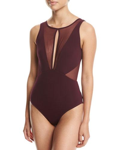 Aspire High-Neck One-Piece Swimsuit, Purple