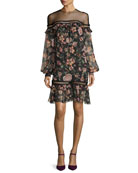 Callie Bishop-Sleeve Floral-Print Dress, Jet