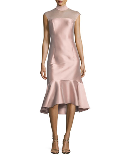 Adelia Smocked-Collar Satin Cocktail Dress