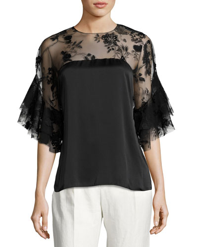 Mina Silk Lace-Yoke Blouse