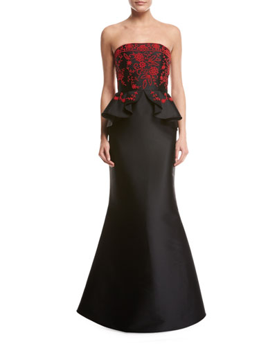 Rayne Embroidered Strapless Peplum Mermaid Gown, Jet