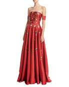 Margaret Strapless Embroidered Satin Gown, Scarlet