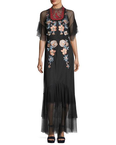 Eleanora Embroidered Point-de-Esprit Evening Gown