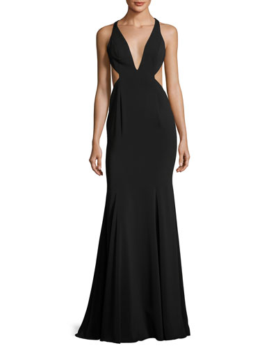 Deep V-Neck Mermaid Gown w/ Side Cutouts, Black