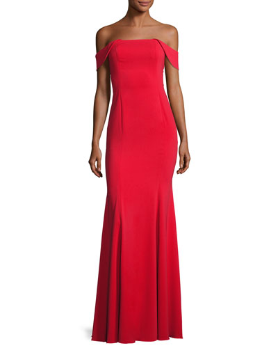 Biles Off-the-Shoulder Mermaid Gown, Red
