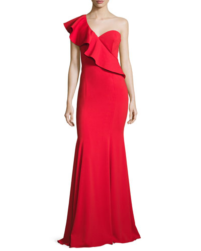 Bolt One-Shoulder Flounce Mermaid Gown, Red
