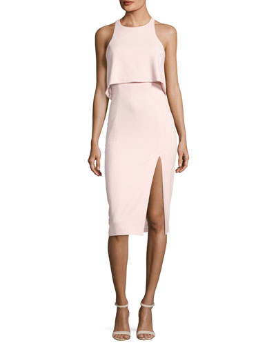 Charles Sleeveless Popover Cocktail Sheath Dress w/ Slit, Rosette