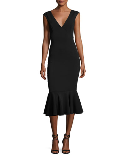 Vaughan Deep V-Neck Mermaid Midi Dress, Black