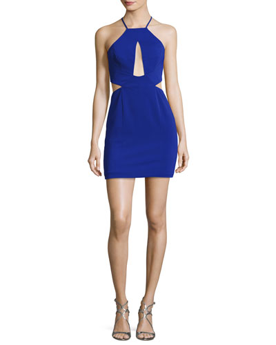 Etta Halter-Neck Cutout Cocktail Minidress, Electric Blue