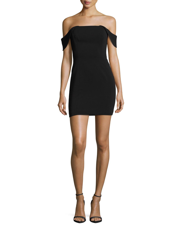 Lang Off-the-Shoulder Mini Cocktail Dress, Black