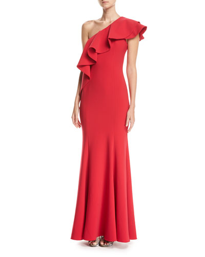 Taj One-Shoulder Mermaid Gown, Red