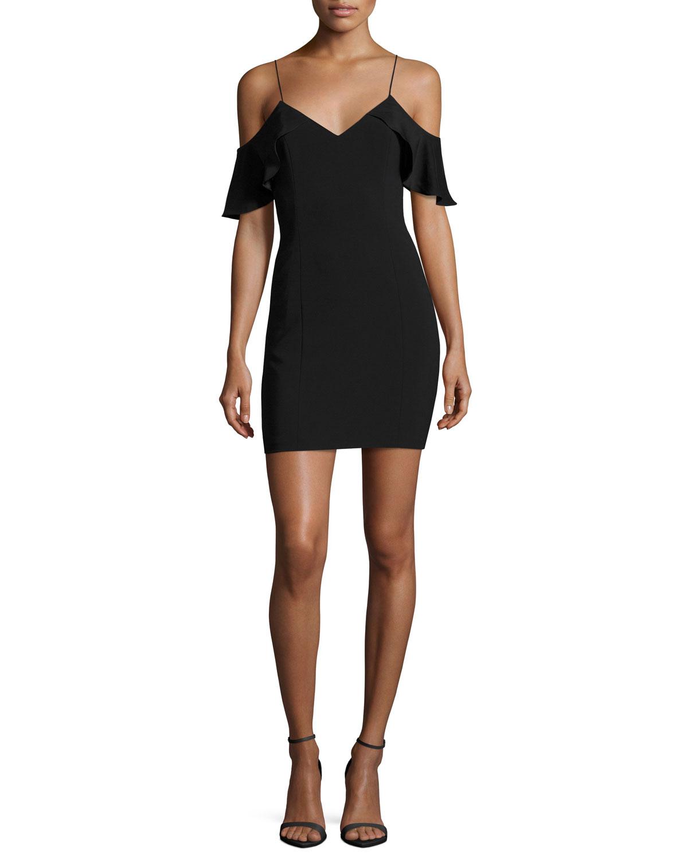 Luther Silk-Trim Cold-Shoulder Mini Cocktail Dress, Black