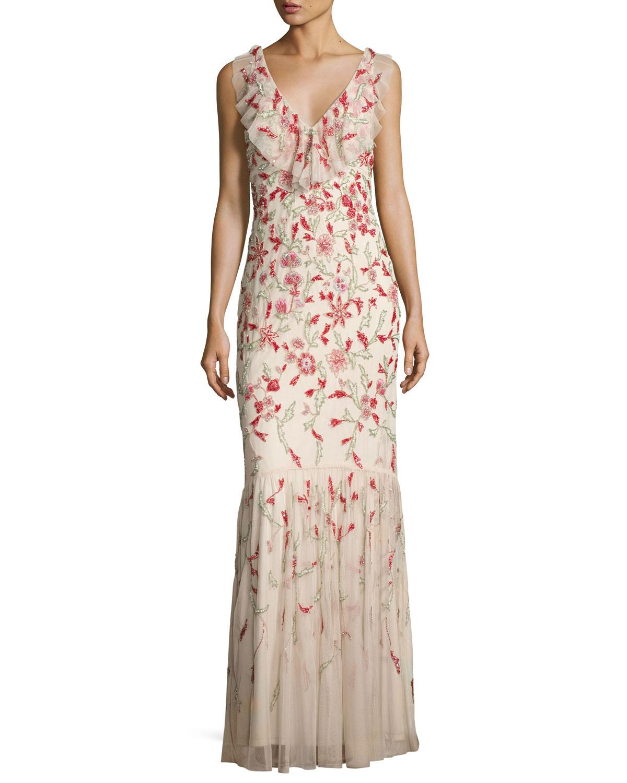 Floral Beaded Sleeveless V-Neck Gown