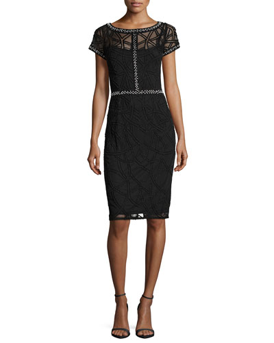 Short-Sleeve Boat-Neck Beaded Sheath Dress, Black