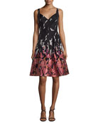 Brocade Printed V-Neck Cocktail Dress