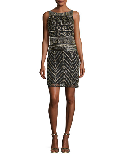 Sleeveless Geometric Beaded Sheath Dress