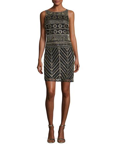 Sleeveless Geometric Beaded Sheath Dress
