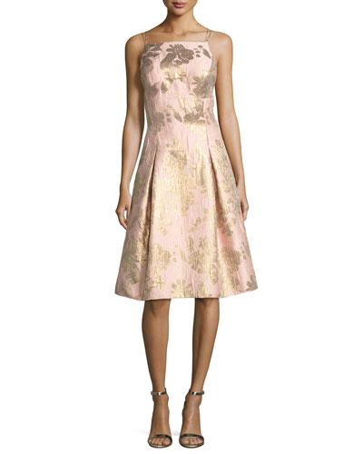 Brocade Metallic Strappy-Back Cocktail Dress