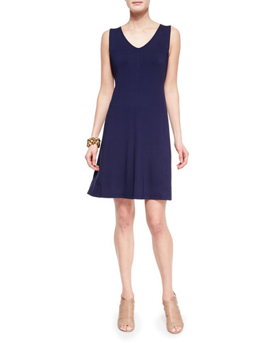 V-Neck Shaped Jersey Dress, Midnight, Petite