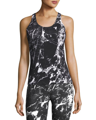 Reversible Racer Active Tank Top, Black Pattern