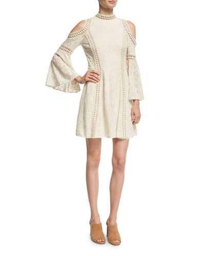 Enya Embroidered-Floral Cold-Shoulder Dress
