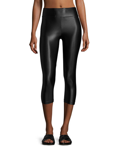 High-Rise Lustrous Capri Leggings