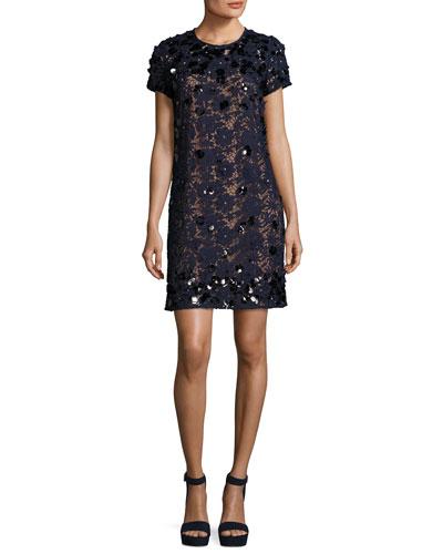 Short-Sleeve Embellished Lace Shift Dress