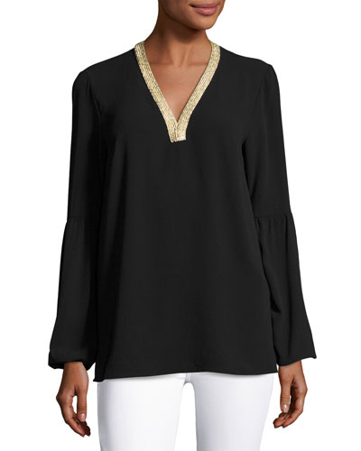 Metallic-V-Neck Long-Sleeve Tunic