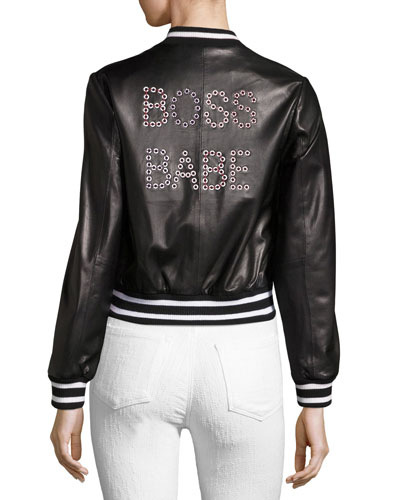 Demia Embellished Leather Bomber Jacket
