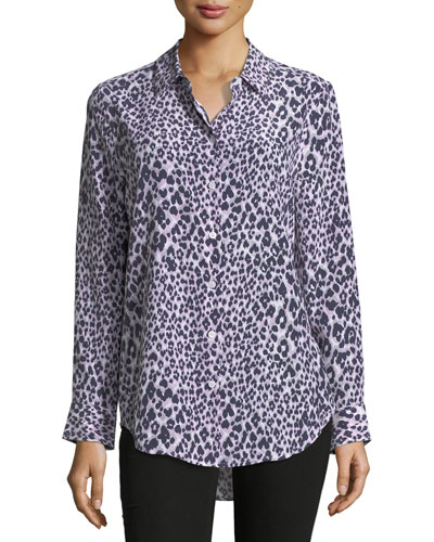 Essential Long-Sleeve Leopard-Print Silk Blouse