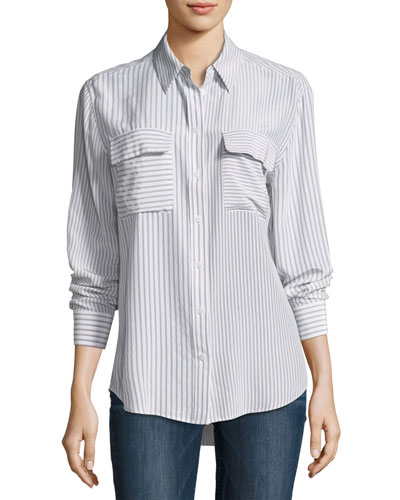Signature Striped Button-Front Silk Blouse