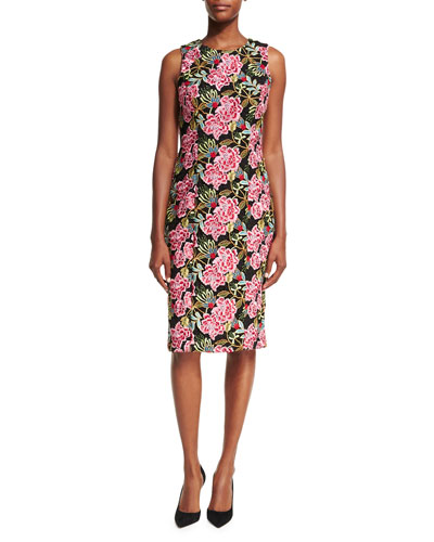 Sleeveless Floral-Embroidered Cocktail Sheath Dress