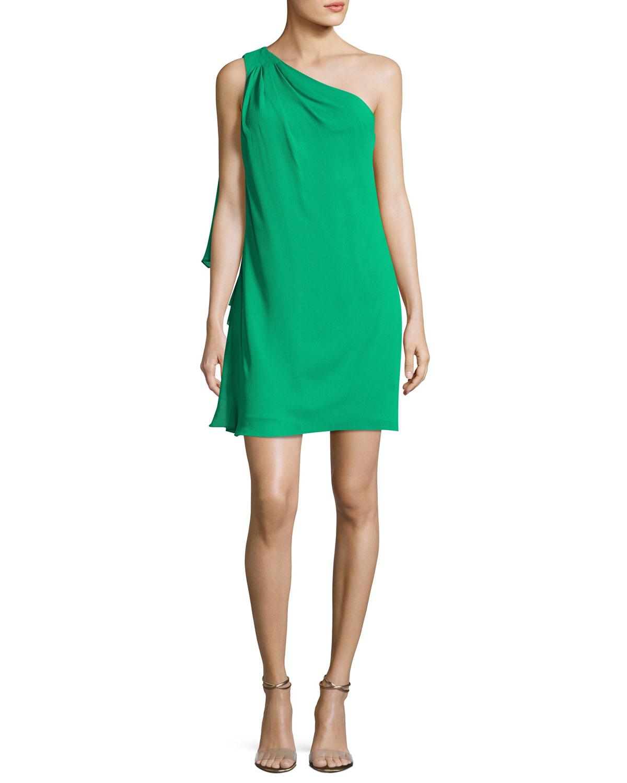 One-Shoulder Side-Ruffle Chiffon Dress