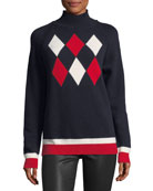 Maglione Tricot Argyle Hooded Pullover Sweater