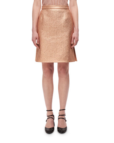 Metallic High-Rise Straight Skirt, Copper