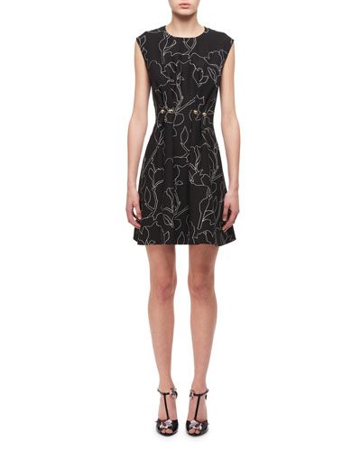 Jewel-Neck Floral-Print Studded Mini Dress, Black