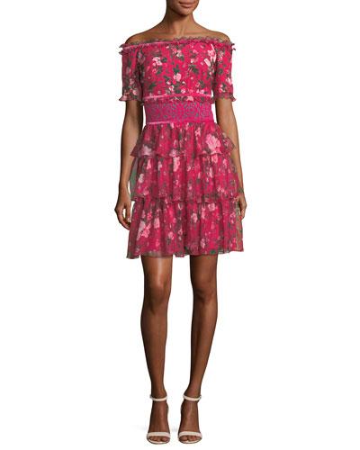 Off-Shoulder Short-Sleeve Floral-Print Tiered Cocktail Dress