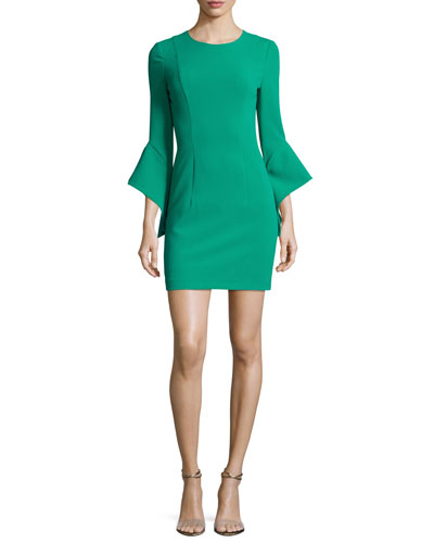 Lorie 3/4 Bell-Sleeve Minidress, Agave Green