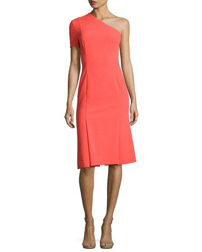 Joyce One-Shoulder Dress, Canyon Coral