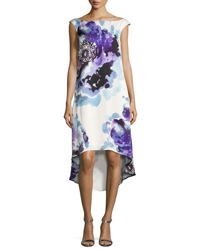 Kindered Cap-Sleeve Peony-Print Hi-Low Dress