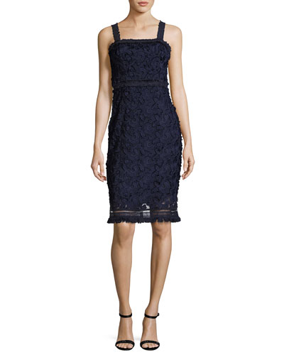 Energetic Sleeveless Lace Sheath Dress