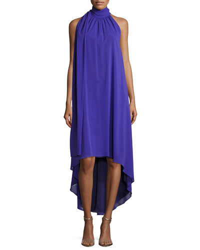 Panoramic Sleeveless Silk Georgette High-Low Dress