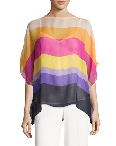 Marlette Sheer Striped Silk Blouse