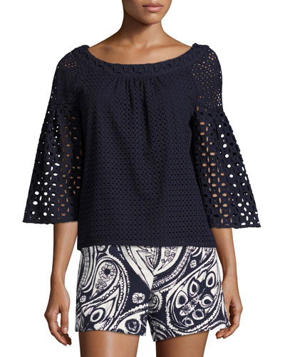 Coit Bell-Sleeve Cotton Eyelet Top