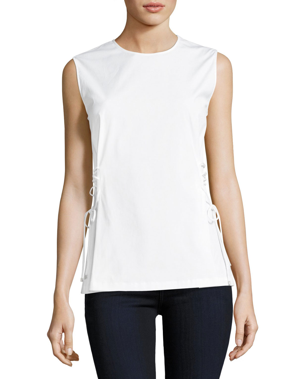 Laced-Side Crewneck Stretch-Cotton Shell Top
