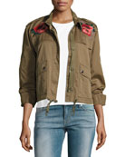 Cropped Utility Jacket W/ Embroidery