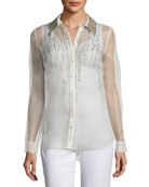 Martha Beaded Silk Chiffon Blouse w/ Leather Collar